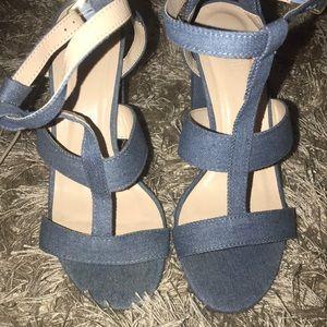 Denim platform strapped Charlotte Russe shoe